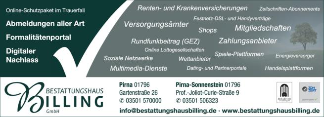 Anzeige Feuerbestattung Bestattungshaus Werner Billing GmbH