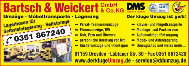 Anzeige Bartsch & Weickert GmbH & Co. KG Umzüge