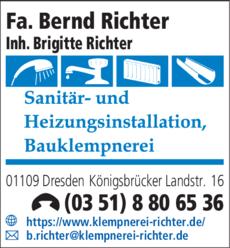 Anzeige Fa. Bernd Richter Inh. Brigitte Richter Sanitär- und Heizungsinstallation
