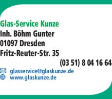 Anzeige Glas-Service Kunze