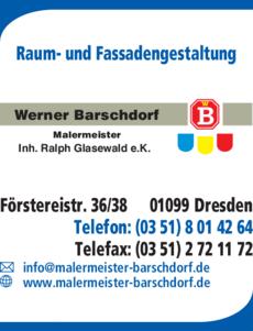 Anzeige Malerbetrieb Raum- und Fassadengestaltung Werner Barschdorf