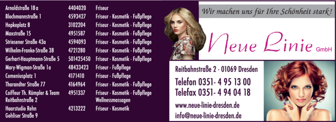Anzeige Friseursalon Neue Linie GmbH