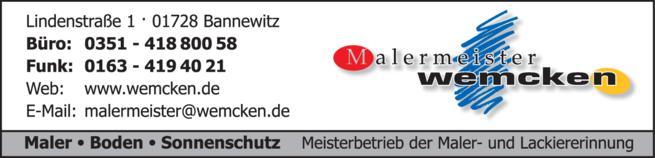 Anzeige Bodenleger- u. Malerfachbetrieb Malermeister Wemcken