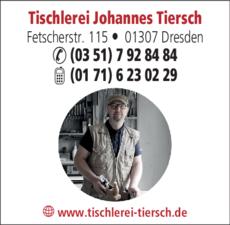 Anzeige Tischlerei Johannes Tiersch