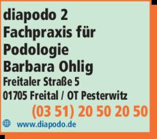 Anzeige diapodo - Fachpraxis für Podologie Barbara Ohlig