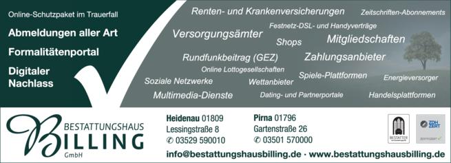 Anzeige Baumbestattung Bestattungshaus Werner Billing GmbH