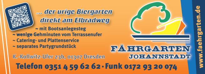 Anzeige Elberadweg Fährgarten Johannstadt