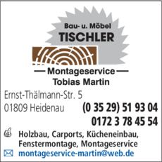 Anzeige Martin, Tobias - Holzbau und Montageservice