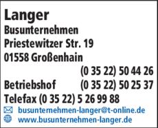 Anzeige Langer Busunternehmen