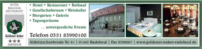 Anzeige Hotel Goldener Anker - Restaurant Ballsaal Biergarten