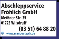 Anzeige Abschleppservice Fröhlich