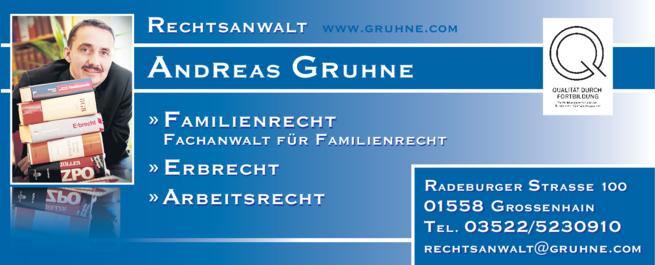 Anzeige Rechtsanwalt Andreas Gruhne