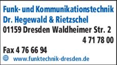 Anzeige Funk- und Kommunikationstechnik Dr. Hegewald & Rietzschel