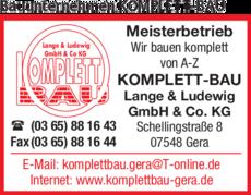 Anzeige Bauunternehmen KOMPLETT-BAU Lange & Ludewig GmbH & Co. KG