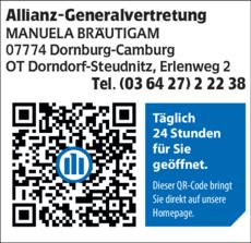 07774 Dornburg Camburg allianz generalvertretung manuela in dornburg camburg in das örtliche