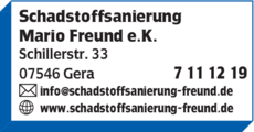 Anzeige Schadstoffsanierung Mario Freund e.K.