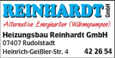Anzeige Heizungsbau Reinhardt GmbH