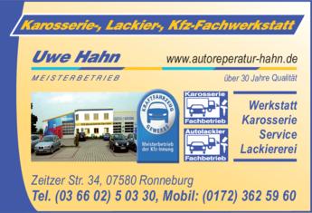 Anzeige Autolackiererei & Karosseriearbeiten Uwe Hahn