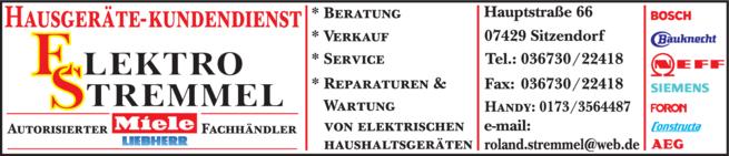 Anzeige Hausgeräte Elektro - Stremmel