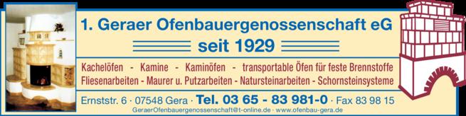 Anzeige 1. Geraer Ofenbauergenossenschaft eG