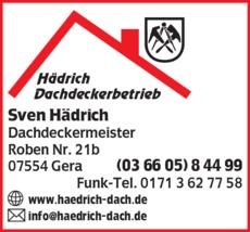 Anzeige Dachdeckerbetrieb Hädrich Sven