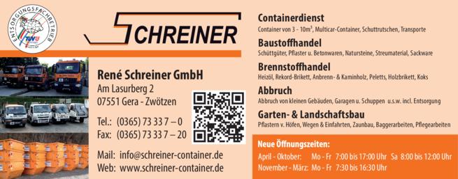 Anzeige Baustoffhandel & Container Rene Schreiner GmbH