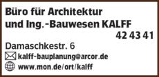 Anzeige Büro für Architektur und Ing.-Bauwesen Kalff