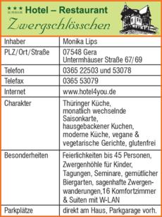 Anzeige Hotel-Restaurant Zwergschlösschen