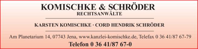 Anzeige Komischke & Kollegen , Karsten Komischke, Cord Hendrik Schröder, Judith Klinger, Björn Werner
