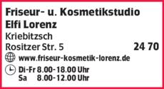 Anzeige Friseur- u. Kosmetikstudio Elfi Lorenz