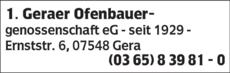 Anzeige 1.Geraer Ofenbauergenossenschaft eG seit 1929