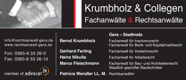 Anzeige Rechtsanwälte Krumbholz & Collegen