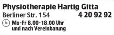 Anzeige Physiotherapie Hartig Gitta