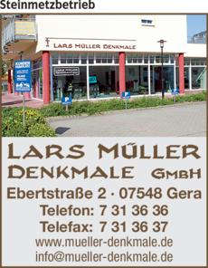 Anzeige Lars Müller Denkmale GmbH