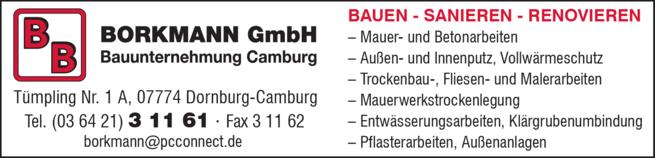 07774 Dornburg Camburg bauunternehmung borkmann gmbh in dornburg camburg in das örtliche