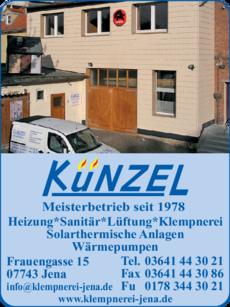 Anzeige Heizung Sanitär Klempnerei Künzel