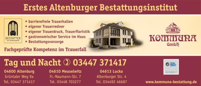 Anzeige Bestattung Kommuna GmbH