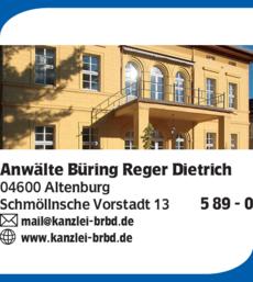 Anzeige Anwälte Büring Reger Bierwisch Dietrich