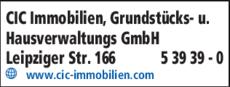 Anzeige CIC Immobilien, Grundstücks- und Hausverwaltungs GmbH