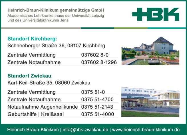 Anzeige HBK Heinrich-Braun-Klinikum gemeinnützige GmbH