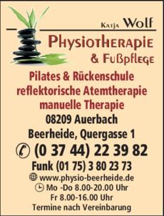 Anzeige Physiotherapie Wolf Katja