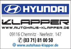 Anzeige Autohaus Klapper GmbH