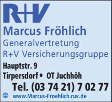 Anzeige R+V Marcus Fröhlich, Generalvertretung R+V Versicherungsgruppe R+V Marcus Fröhli