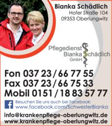 Anzeige Pflegedienst Bianka Schädlich GmbH