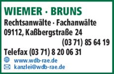 Anzeige WIEMER - BRUNS