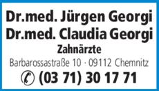 Anzeige Georgi Jürgen Dr. med., Claudia Dr. med.