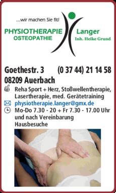 Anzeige Osteopathie Physiotherapie Langer, Inh. Heike Grund