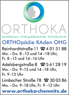 Anzeige ORTHOKA Orthopädie Kaden OHG