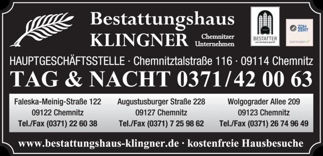 Anzeige Bestattung Bestattungshaus Klingner