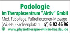 Anzeige Podologie im Therapiezentrum Aktiv GmbH